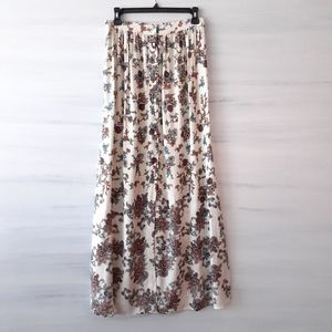 Patrons of Peace Floral Button-Front Maxi Skirt